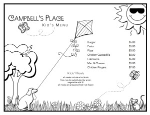 Capbell's Kids Menu